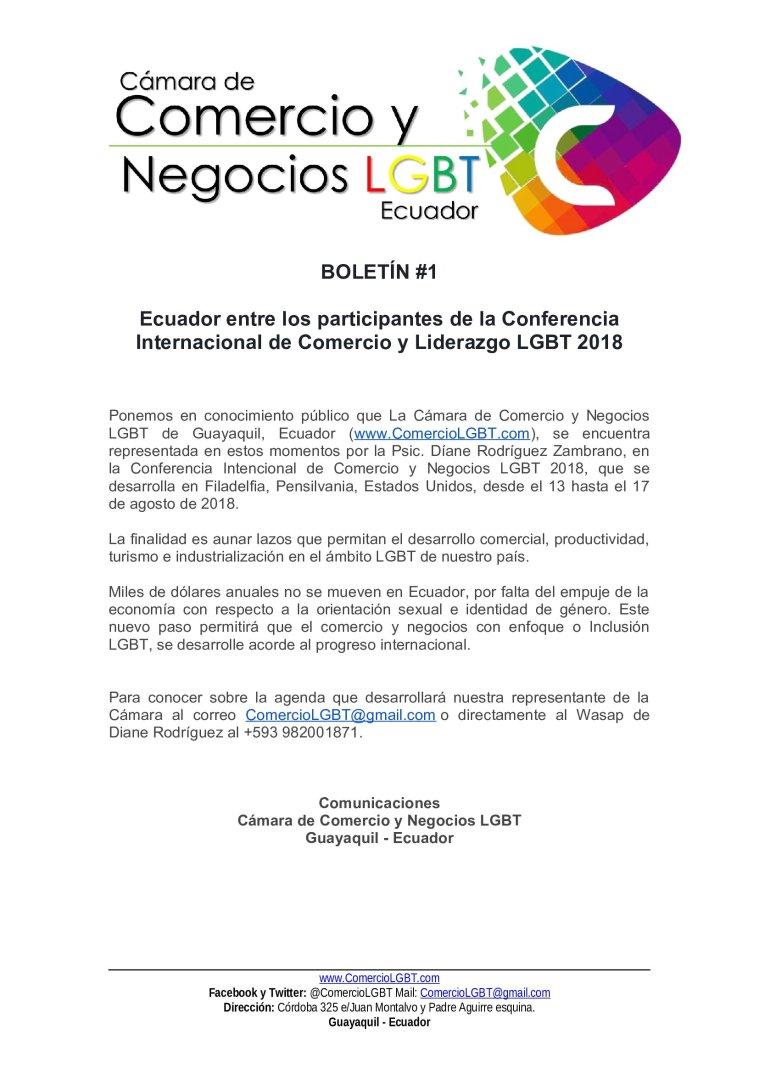 Ecuador participa en la Conferencia Internacional de Comercio y Negocios LGBT 2018 - Cámara de Comercio y Negocios LGBT del Ecuador