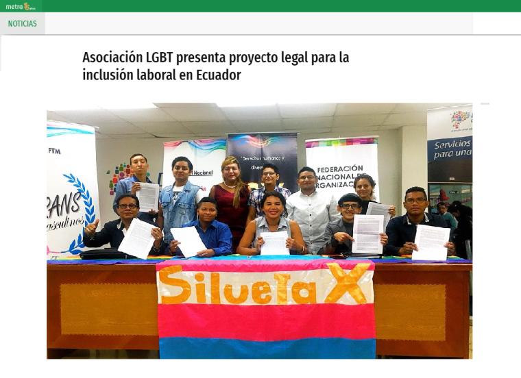 Asociación LGBT presenta proyecto legal para la inclusión laboral en Ecuador-Federacion Ecuatoriana LGBTI-Plataforma Revolucion Trans-Transmasculinos Ecuador-Asociacion Silueta X-Camar