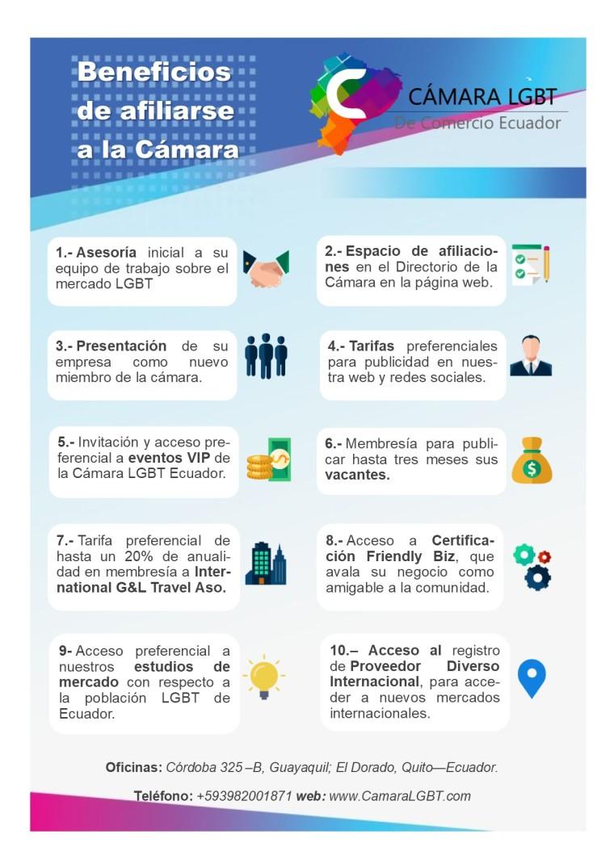 Beneficios de afiliarse a la cámara LGBT de Comercio y turismo Ecuador - Chamber commerce LGBT