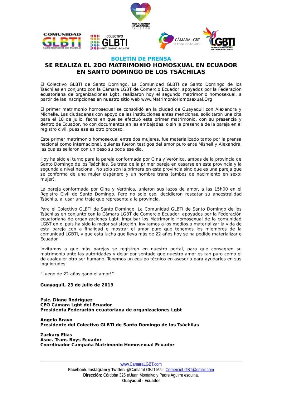 boletin de prensa, 2do matrimonio homosexual en Ecuador.jpg