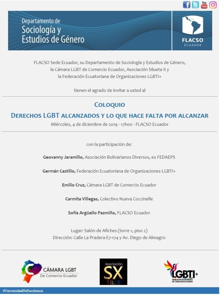 Coloquio - Derechos Alcanzados y lo que hace falta por alcanzar - FLACSO Ecuador - Cámara LGBT de Comercio Ecuador - Asociación Silueta X - Federación ecuatoriana de organizaicones LGBT