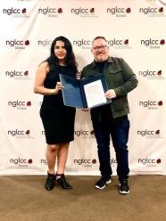 Diane Rodrigez CEO Camara LGBT de Ecuador y Justin Nelson de la Camara LGBT de Estados Unidos NGLCC
