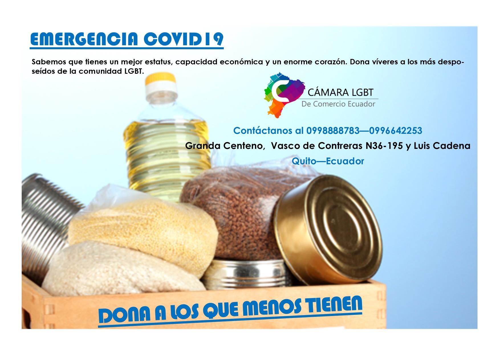 Emergencia covid 19 - Donación de canastas de alimentos no perecibles para LGBT y personas trans - Cámara LGBT de Comercio Ecuador