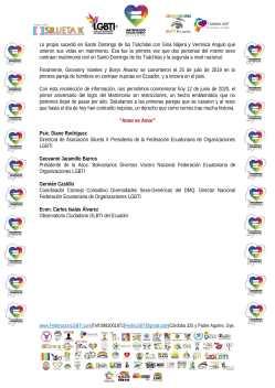 Comunicado - Hoy conmemoramos 1 año que en Ecuador todas las personas puedan acceder al Matrimonio Civil - Federación Ecuatoriana de Organizaciones LGBT - Camara LGBT de Comercio - Silueta X-3