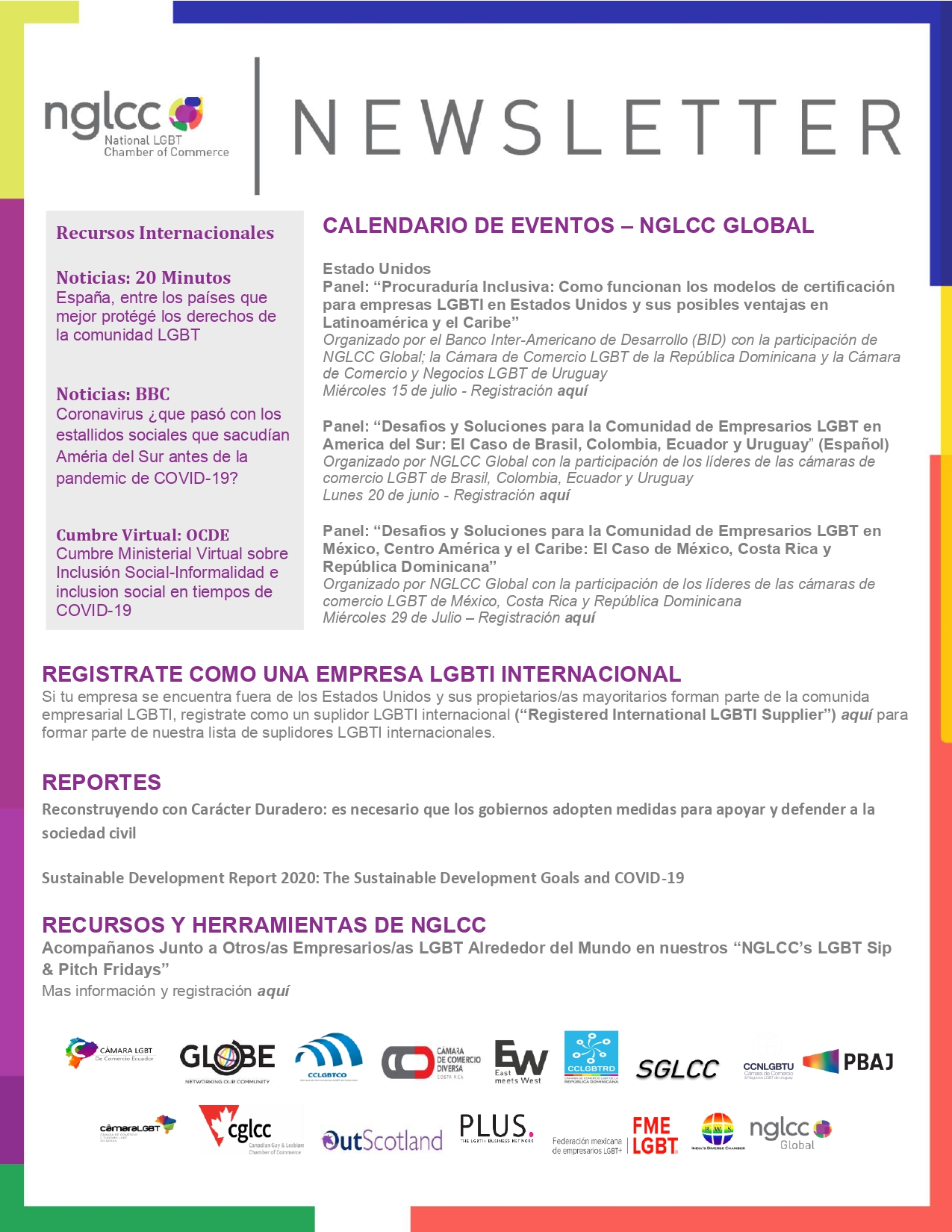 Global Newsletter NGLCC - Cámara LGBT Ecuador