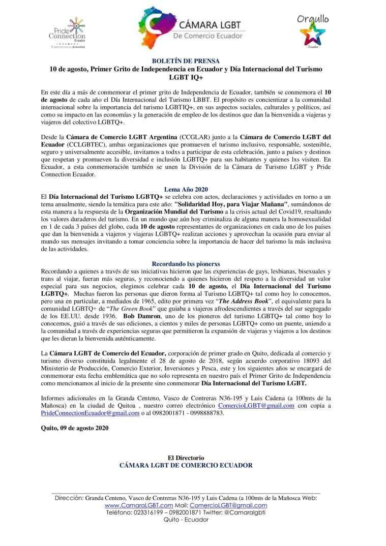 Boletín de Prensa - 10 de agosto, Primer Grito de Independencia en Ecuador y Día Internacional del Turismo LGBTIQ+ - Cámara LGBT de Comercio Ecuador